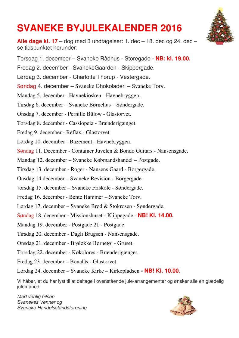 Svaneke Byjulekalender  dato-oversigt kalender  2016 v 2