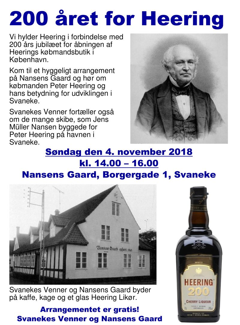 Plakat - 200 året for Heering - Nansens Gaard 04-11-2018
