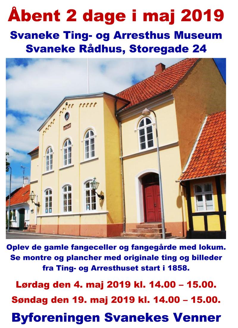 Plakat Svaneke Ting- og Arresthus Museum maj 2019