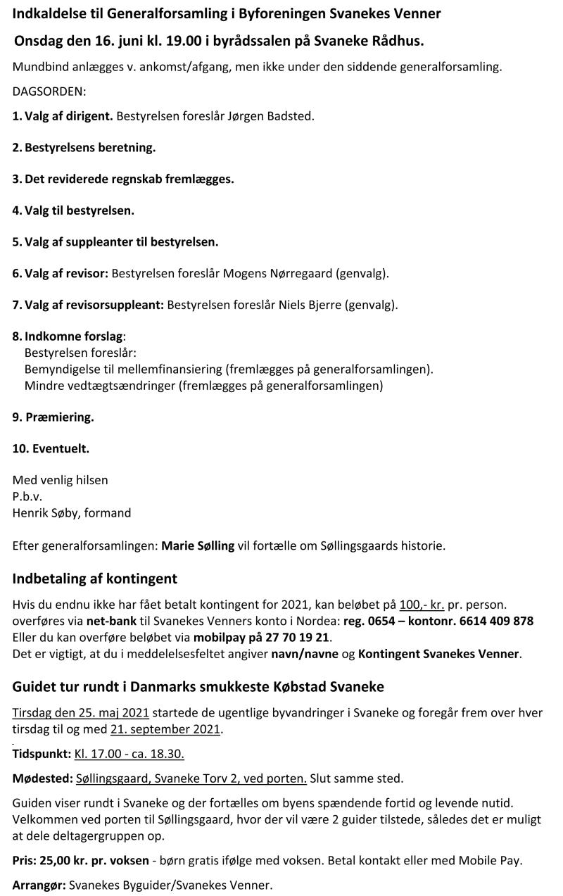 Svanekes Venner - Tekst til Nyhedsbrev 31-05-2021